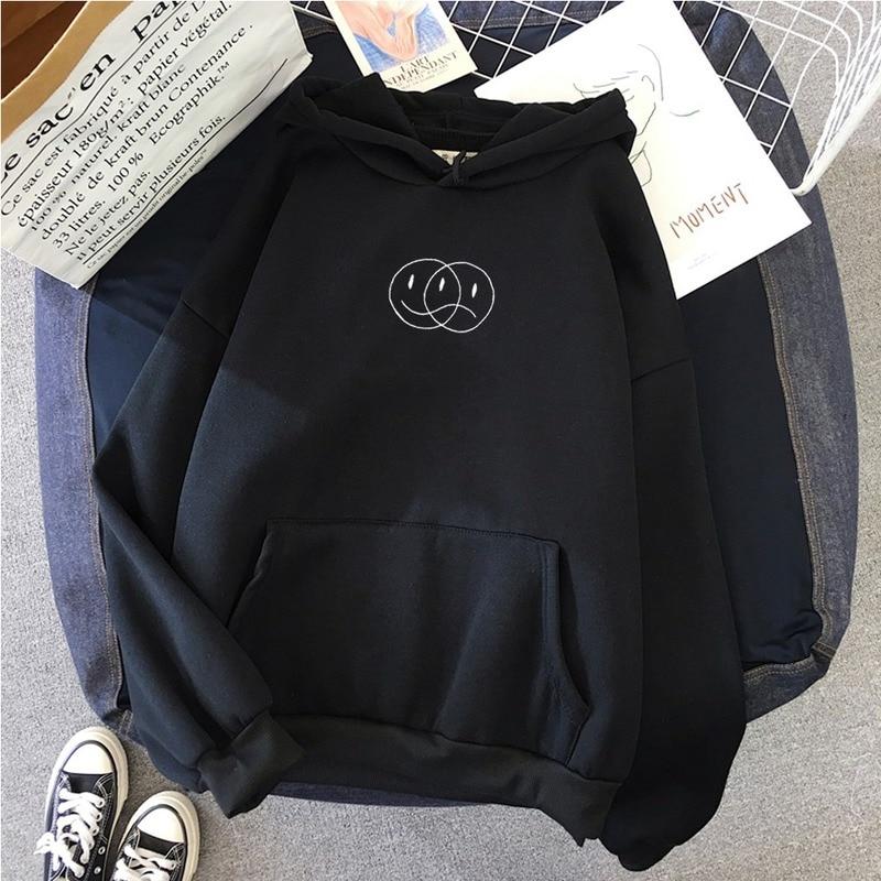 Korean Streetwear Sweatshirt Men Women Casual Pullover Hip Hop Long Sleeve Smile Sad Face Line Print Sport swear Tops Hoodies 4