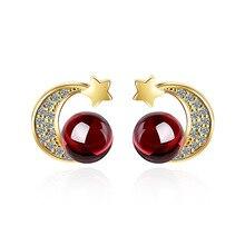 Bohemia Yellow Gold Moon Star Garnet Stone 925 Sterling Silver Lady Stud Earrings Jewelry Women Gift