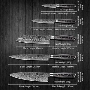 Image 2 - XINZUO 5 Pcs Kitchen Knife Set 67 layers Japanese Damascus Stainless Steel Santoku Cleaver Chef Paring Knives Pakkawood Handle