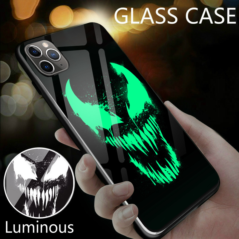 Venom Iron Man Deadpool Batman Black Panther <font><b>Luminous</b></font> Glass <font><b>Case</b></font> For <font><b>iPhone</b></font> 11 Pro XS MAX XR X 7 8 <font><b>6</b></font> 6S Plus Marvel Phone Cover image