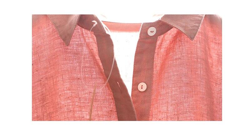 Printemps automne nouveaux arrivants femmes lâche Style japonais Mori fille doux confortable lavé à l'eau 14*14 robes de chemise en lin 4 couleurs - 6