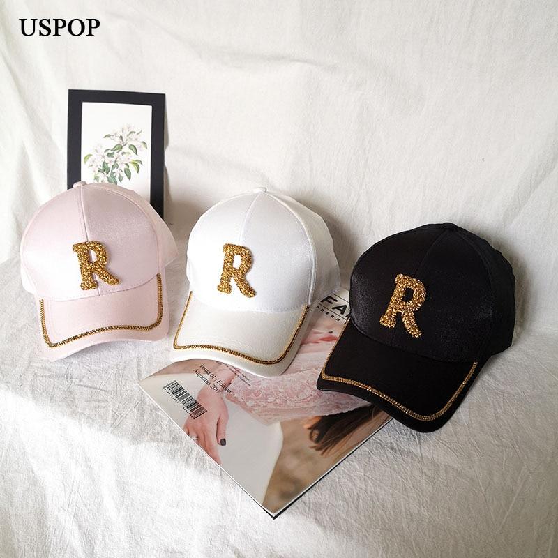 USPOP Fashion Women Summer Caps Diamond Baseball Cap Luxury Letter R Cotton Visor Cap