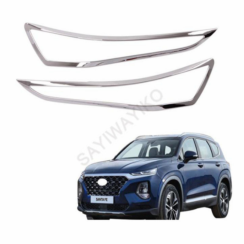 ABS Chrome Front Lamp Cover Headlight Frames Protector Auto Accessories 2Pcs For <font><b>Hyundai</b></font> <font><b>Santa</b></font> <font><b>Fe</b></font> ix45 <font><b>2019</b></font> <font><b>2020</b></font> image