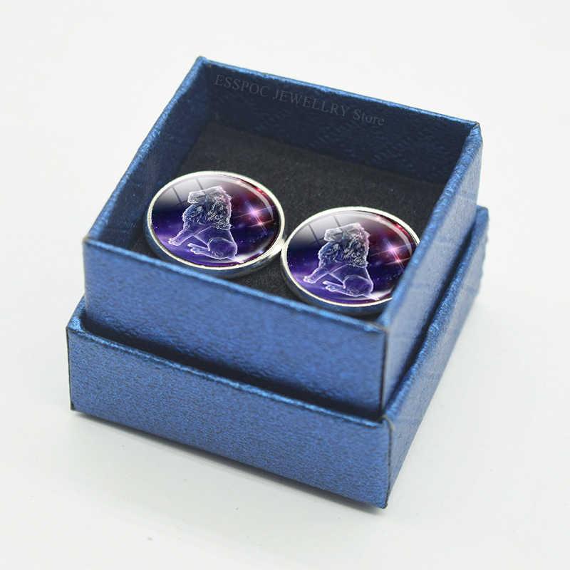 12 takımyıldızları erkekler için kol düğmeleri kol düğmesi seti cam takı düğün zodyak işaretleri takım elbise gömlek gümüş kol düğmeleri erkek aksesuarları