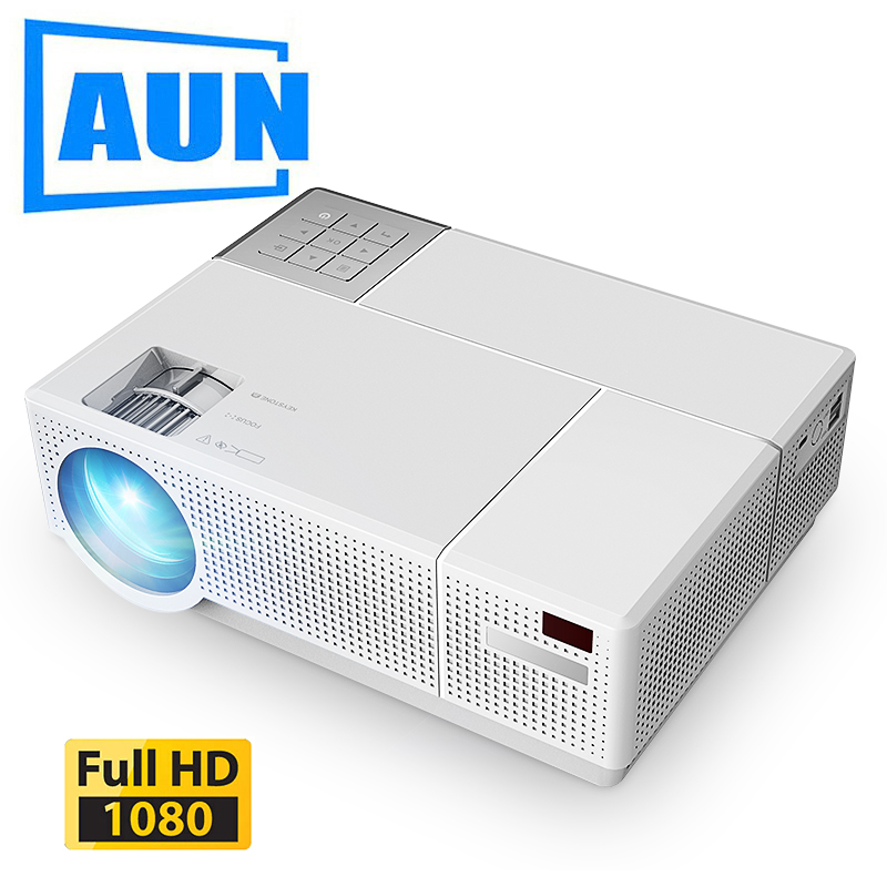AUN Full HD Projector D70, Native 1920x1080P, 6,800 Lumen, Multimedia System Video Beamer. LED Projector For 4K Home Cinema.