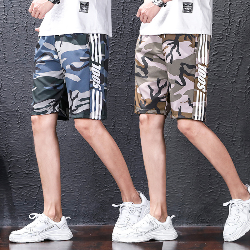 Shorts Men's Fashion Shorts Loose-Fit Summer Bermuda Shorts Korean-style Teenager Sports Beach Shorts Thin