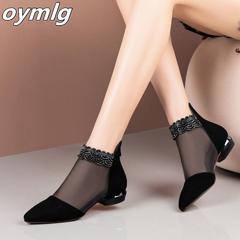 2020 new summer sandals Pointed High heels Women shoes Black Lace Ankle Flower low Heel zipper flowers casual sandals