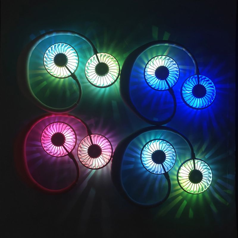 hand free mini portable fan battery with colorful lights two fans hanging around the neck for sport