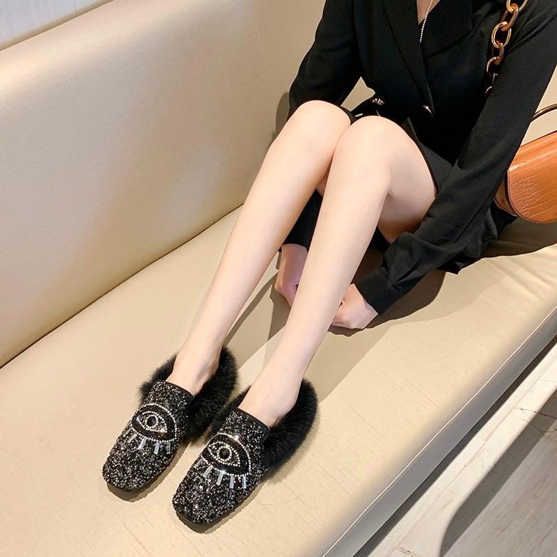Designer Women Shiny Sequins Muller Shoes Brand Winter Faux Fur Female Eyes Applique Flats Girls Casual Outdoor Warm Flip Flop 22