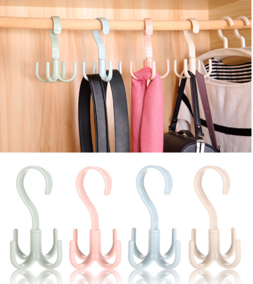 360 Degrees Rotated 4 Hooks Plastic Handbag Clothes Ties Bag Holder Shelf Organizer Belt Closet Hanger Hanging Rack Storage Hook