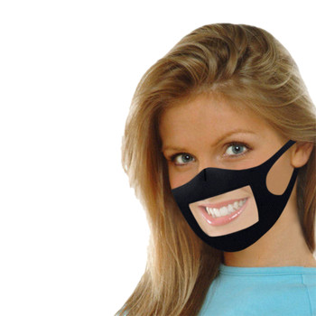 1PC Mask With Clear Window Visible Expression For The Deaf And Hard Of Hearing Deaf mute Maske transparent Plastic mouth maskes image