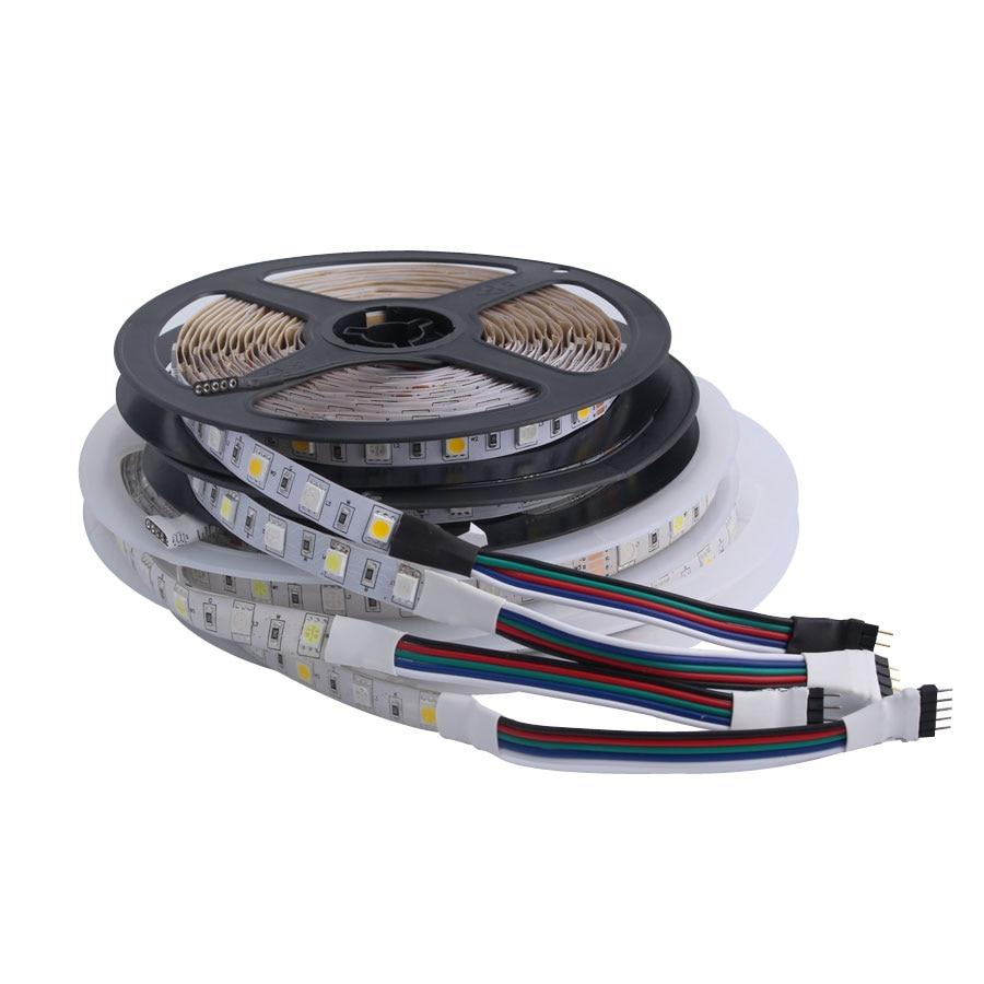 PC RGB 5050 5 12 24 V Volt LED Strip Waterproof 5M 60Led/m Flexible RGB Led Strip 5V 12V 24V Light Tape Ambilight TV Backlight