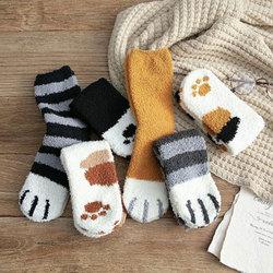 2019 Cute Plush Coral Fleece Socks Female Tube Socks Autumn Winter Cat Claws Thick Warm Sleeping Floor Sleep Socks