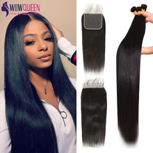 5x5 Closure Bundles Brazilian-Hair Remy WOWQUEEN Straight 30inch with And