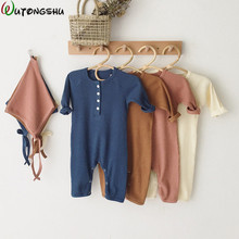 Baby Winter Clothing 0-24M Newborn Girl Boy Rompers Knitted Cotton Long Sleeve Jumpsuit Outfit Clothes Hat For Kids Onesie
