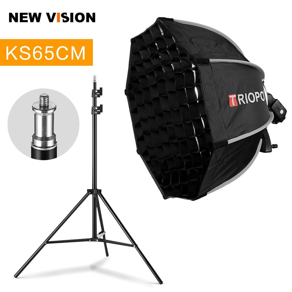 TRIOPO 65cm Foldable Octagon Softbox Bracket Mount Softbox Handle + Honeycomb Grid + 2m Light Stand for Godox Speedlite Flash