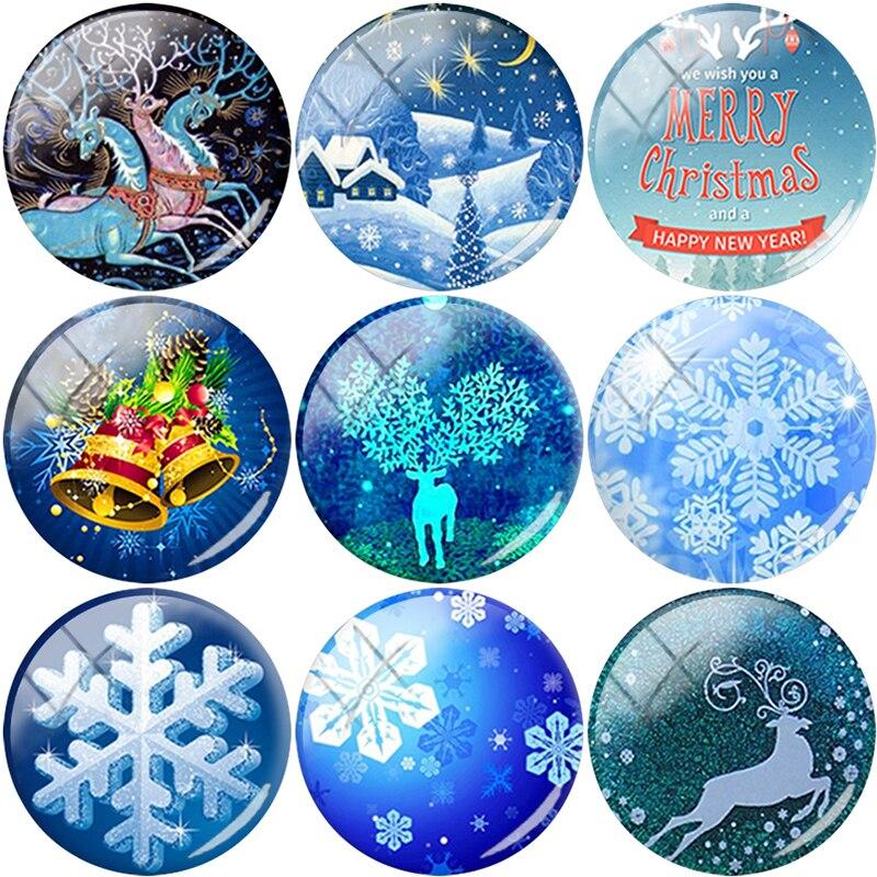 TAFREE NOUVEAU Noël elk flocon de neige arbre Cloche cap 12/15/16/18/20/25mm Verre Cabochon Dôme Dos Plat BIJOUX À BRICOLER SOI-MÊME De B11