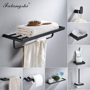 Image 1 - Набор принадлежностей для ванной комнаты Falangshi, черная отделка, Высококачественная вешалка для полотенец, держатель для туалетной бумаги, мыльница, настенный WB8846