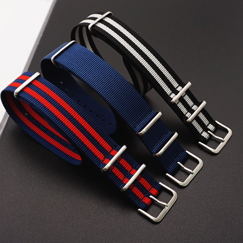 Hight-Quality-Nato-Style-Nylon-20mm-22mm-Watchband-James-Bond-007--Casual-Watch-Strap-Army