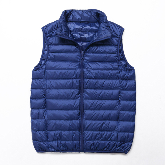 Winter Men Duck Down Vest Coat Ultralight Sleeveless Puffer Vest Jacket Fashion Stand Collar Windproof Duck Down Waistcoat 2
