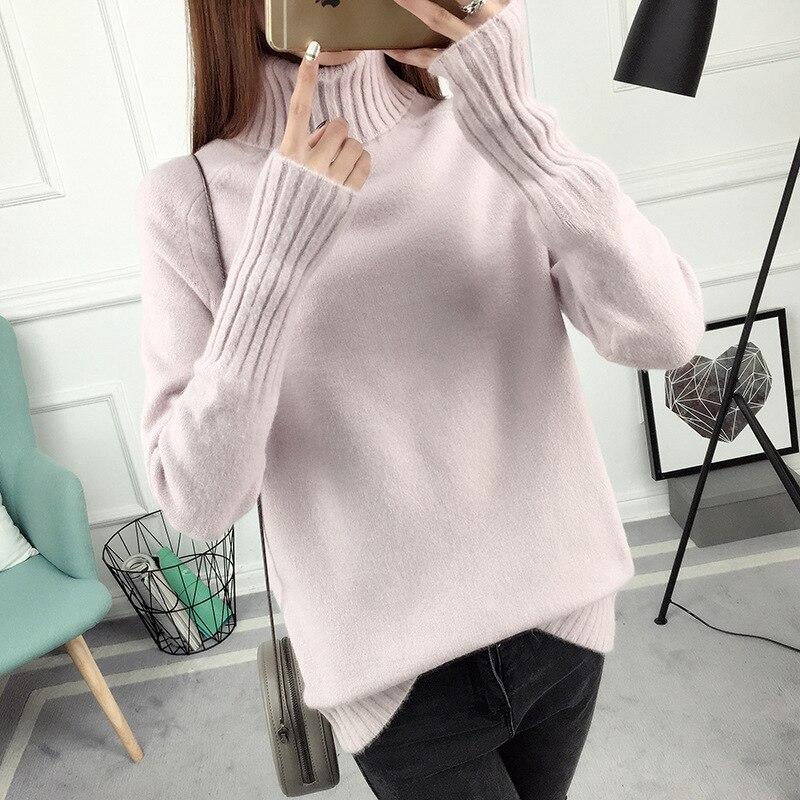 14 цветов,, осенне-зимний свитер, Женский вязаный свитер с высоким воротом, повседневный мягкий модный тонкий женский эластичный пуловер NS9097