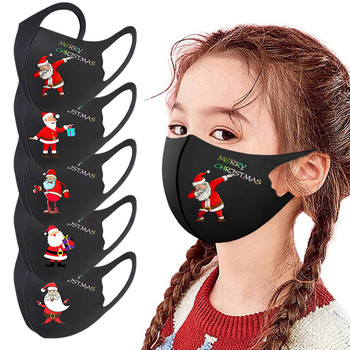 Christmas Theme Print Mask Outdoor Breathable Child Black Mouth Mask Unisex Cotton Face Mask Anime Mask For Cycling Camp 1pcs image