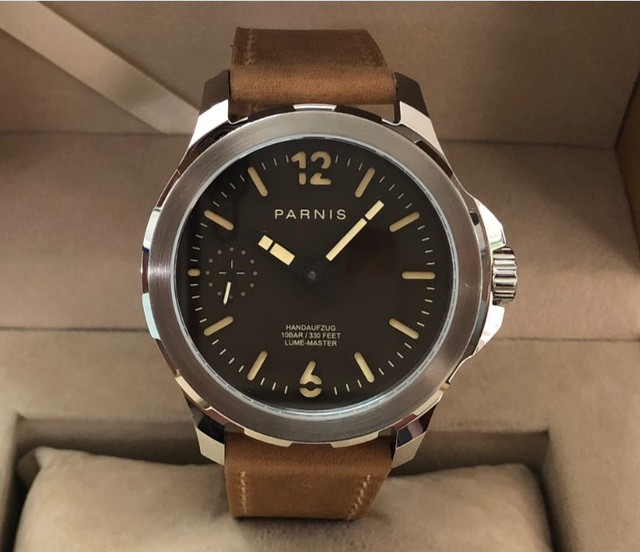 Sapphire crystal 44mm Light coffee color dial Asian 6498 17 jewels Mechanical Hand Wind movement luminous mens watch p186-pp8