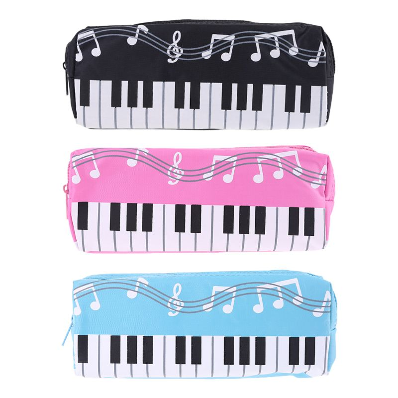 Music Notes Piano Keyboard Pencil Case Large Capacity Pen Bags Stationery Office PXPA