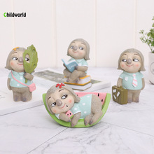 Japanese Groceries Sloths Animals Small Ornaments Creative Micro-landscape Birthday Cake Resin Home Decorations Accessories цена