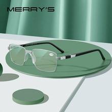 MERRYS-gafas de lectura con bloqueo de luz azul para hombre, lentes de resina CR-39, gafas asféricas + 1,00 + 1,50 + 2,00 + 2,50 S2189FLH