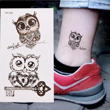 Waterproof Cartoon Owl Cute Temporary Decal Fake Tattoo Sticker Body Art Decor Temporary Tattoos Looks like real tattoo on the image