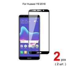 Закаленное стекло с полным покрытием для huawei y9 2018 2 шт
