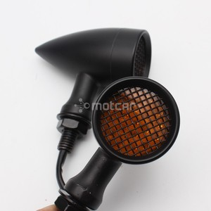 Image 3 - 1pair Retro Bullet Black Grid Motorcycle Turn Signal Light LED Brake Light Metal Shell Blinkers Flashers for Harley Honda Yamaha