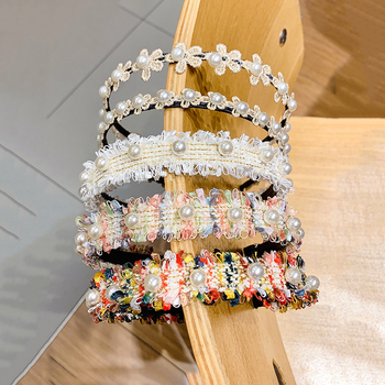 [Xwen] 2020 New Mesh Pearl Women Hair Band Female Simple Hoop Girls Sweet Antiskid Headdress Fashion Accessories OH1814