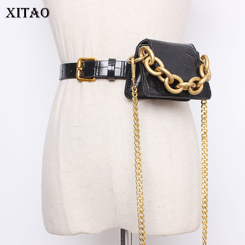 XITAO Concave Street Photography Personality Heavy Metal Gold Chain New Wild 2020 Spring Fashion New Women Cummerbunds GCC3097