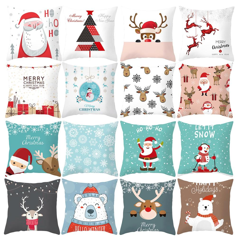 FENGRISE Merry Christmas Decor For Home Santa Claus Elk Pillowcase Christmas Ornament 2019 Navidad Xmas Gift Happy New Year 2020