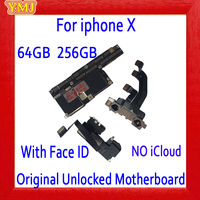 Factory unlocked Motherboard for iphone X Motherboard 100% Original for iphone X Mainboard Board Without Face ID/ With Face ID
