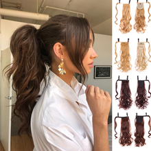 Ponytail Wavy Hair-Extension Wrapped Synthetic-Fiber Natural Around Brown Xuanguang Wig
