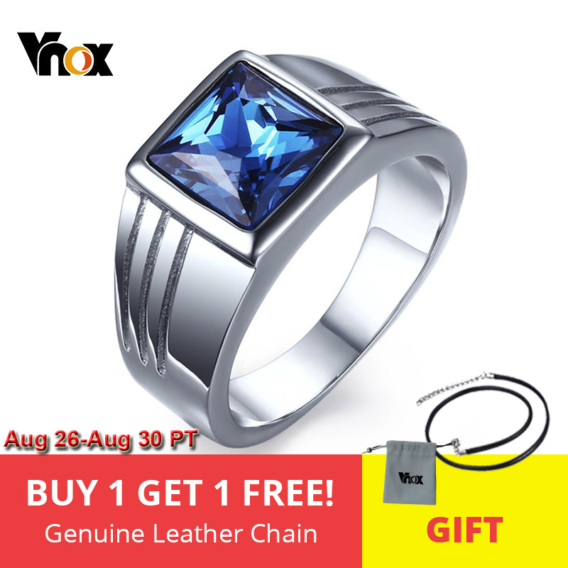 Vnox Band-Ring Zircon Engagement Stainless-Steel Blue Cz High-Quality Silver-Color