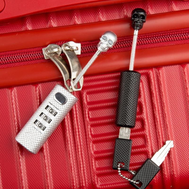 New Creative Skull Metal Luggage Locks Three Digits Combination Padlock Mini Security Check Travel Bag Lock Secure Code Lock Key