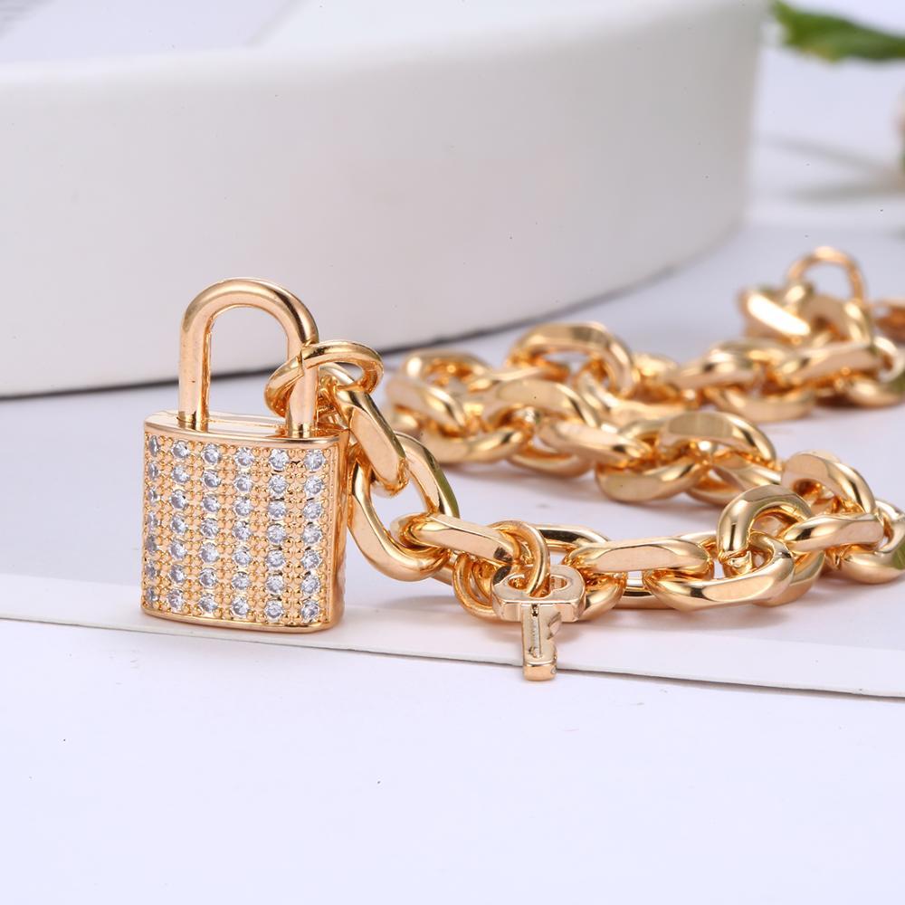 CZ Zircon Lock Charm Bracelets For Women Trendy Gold Link Chain Small Key Padlock Luxurious Jewlery Accessories Gifts 2020 New(China)