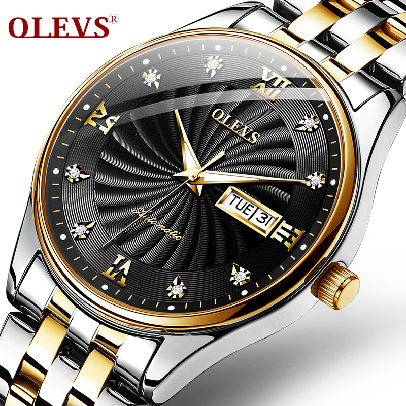 OLEVS, curved interior, multi-function, men's waterproof mechanical watch men fashion  brand watches  Business