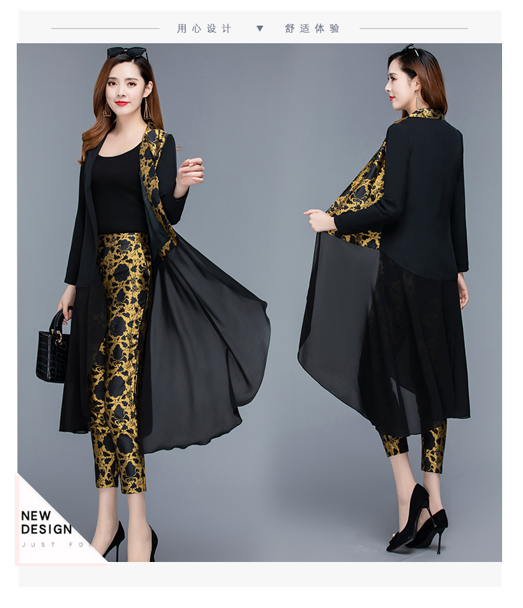 2019 Autumn Black Vintage Printed Two Piece Sets Outfits Women Plus Size Long Tops With Belt And Pants Suits Elegant Office Sets 43