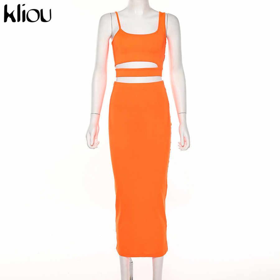 Kliou 女性ソリッドカラーのストラップレス中空アウトクロップトップ高ウエスト弾性スキニーロングスカート二枚セット女性ファッション衣装