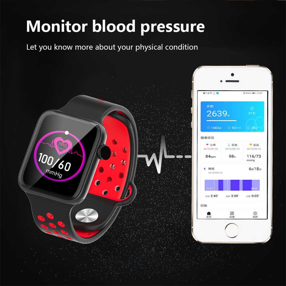 """2019 montre intelligente chaude 1.4 """"plein écran tactile hommes femmes fréquence cardiaque moniteur de pression artérielle Smartwatch 5 pour Android Apple IOS téléphone"""