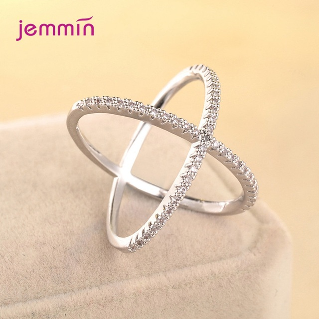 S925 Silver Jewelry X Crossing Finger Ring  Female Fashion Micro Paved CZ Crystal Rings Infinity Sign Women Silver Rings Party 6