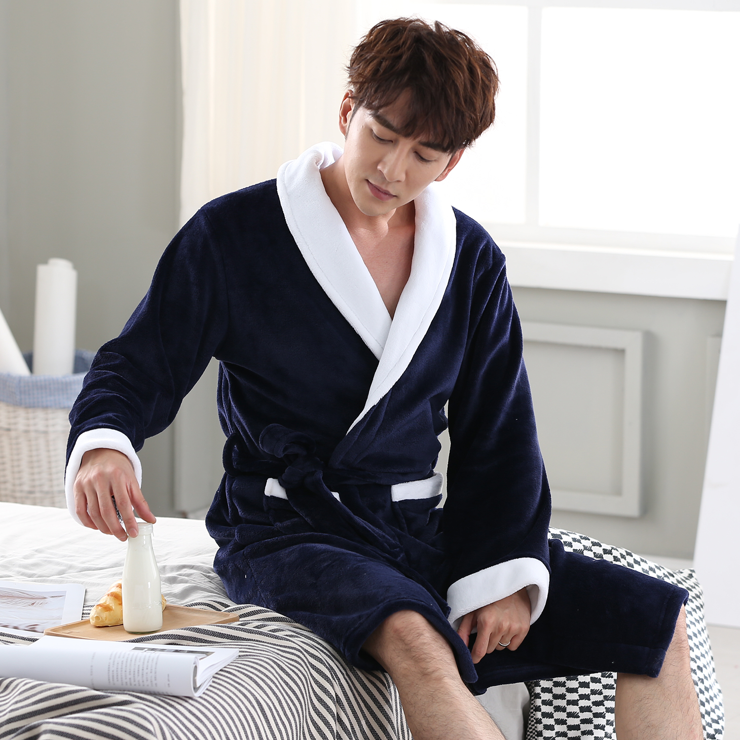 Kimono Robe Gown Bathrobe-Gown Sleepwear Intimate Winter Nightwear Men Casual Flannel title=