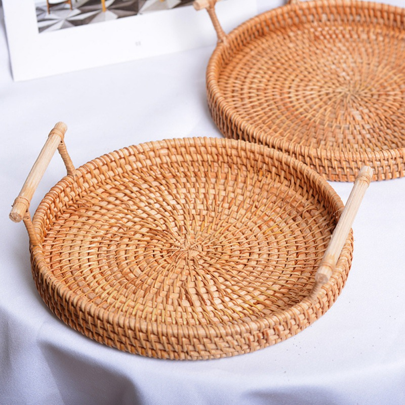 Rattan Bread Storage Tray Round Basket With Handle Hand-Woven Rattan Tray Wicker Basket For Dinner Parties Coffee Breakfast