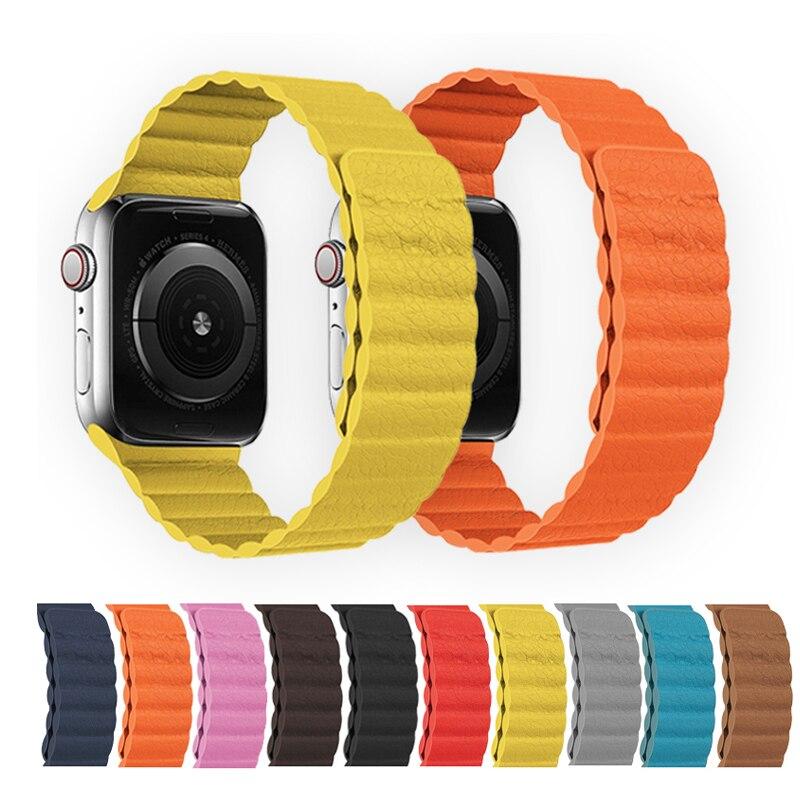 Кожаный ремешок для Apple watch, ремешок 44 мм, 40 мм, 38 мм, 42 мм, магнитные умные часы, браслет, браслет iWatch серии 3, 4, 5, 6 SE