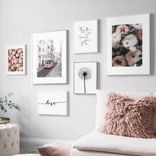 Flor diente de león peonía Paris Bus amor pared arte lienzo pintura carteles nórdicos e imprime cuadros de pared para la decoración de la sala de estar